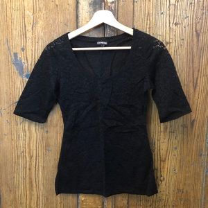 Express black lace fitted blouse w/ short sleeves
